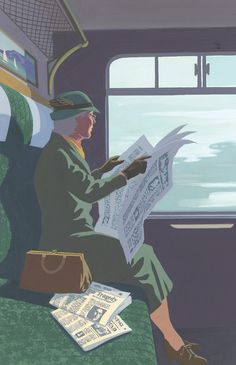 Atmospheric illustration from The Folio Society edition of Agatha Christie's Miss Marple novels by contemporary English illustrator Andrew Davidson.