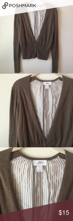 LOFT Cardigan LOFT XS two-tone Cardigan. Super cute and different from the every day cardi. Neutral colors go with everything! Excellent condition! Feel free to make an offer! LOFT Sweaters Cardigans