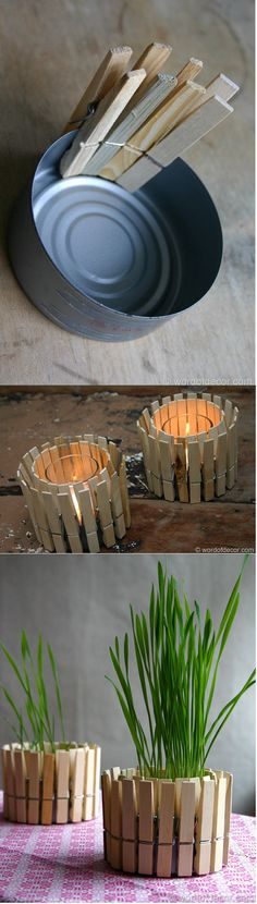 DIY - decorative candle holder or plant pot from a tint can and clothes clippers