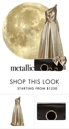 """Metallic !"" by biebergirl1013 ❤ liked on Polyvore featuring Carolina Herrera, Chloé, Jimmy Choo, contest, metallic and metallicdress"