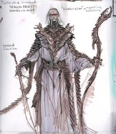 Unused Dragon Priest concept art from The Elder Scrolls V: Skyrim by Adam Adamowicz Elder Scrolls Lore, Elder Scrolls Games, Elder Scrolls Skyrim, Fantasy Armor, Medieval Fantasy, Dark Fantasy, Character Design References, Character Art, Skyrim Concept Art