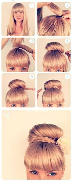 Put hair in a pony tale, put a piece of hair to the side, braid it. Then put…