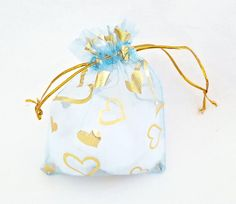 Organza Bags - 15 Light Blue Drawstring Bag with Hearts - 12 x 10cm Drawstring Bags for Jewelry - Party Favor Bags - Decorative Bags - BG405 #etsy #partyfavors #smallbiz