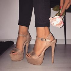 @STYLESTONED nude platform heels / ankle strap / women's beige summer shoes from Quanticlo