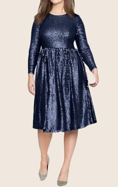 MACloth Long Sleeves Sequin Midi Cocktail Party Dress Dark Navy Formal Gown Sequin Gown, Formal Gowns, Party Dress, Short Dresses, Fashion Dresses, Dark Navy, Sequins, Dresses With Sleeves, Cocktail