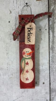 Primitive Snowman, Snowman, Believe, Painted Snowman, Country Snowman, Snowman Sign, Winter Decor, Christmas, Hand Painted, Salvage Wood by FlatHillGoods on Etsy