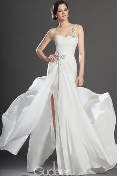 crystal beaded sweetheart ivory one shoulder chiffon evening dress with slit