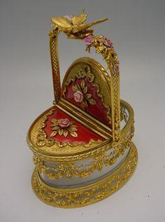 "Antique French Crystal Bronze Basket Box ""Pink Porcelain Flowers """