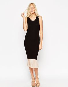 ASOS Midi Dress With Pleated Woven Hem