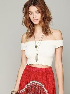 Girls (only cause its white) w/ a flow maxi skirt  ShopStyle: Free People Smocked Seamless Crop Top