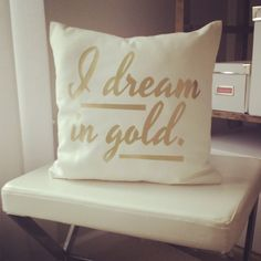 Monogram Throw Pillow Cover - I Dream in Gold on Etsy, $25.00