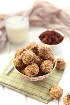 No-Bake Oatmeal Protein Energy Balls--leave out the pb for low fat version