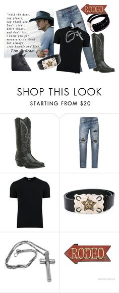 Humble and Kind Sexy Men of Country Music by jroy1267 on Polyvore featuring Dolce&Gabbana, AMIRI, Laredo, Dsquared2, Pottery Barn, country, men's fashion and menswear