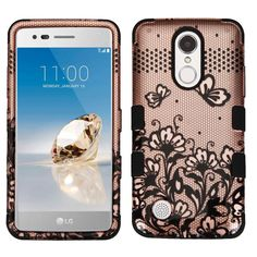 Military Grade TUFF Image Hybrid Armor Case for LG Aristo - Lace Flowers Rose Gold - HD Accessory