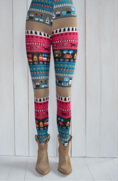 Fantastyczne kolorowe legginsy norweskie