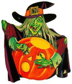 Witch Carving Jack O Lantern 1960s Vintage Halloween Cardboard Diecut
