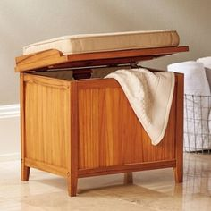 Hamper Bench With Cushion Teak Bathroom Storage Seating Towels Dirty Clothes