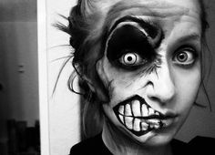 i love this halloween make up in black and grey!