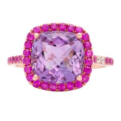 Pretty pink sapphire, amethyst and diamond ring