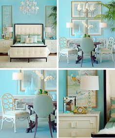As turquoise is the main color of this house, it's beautifully paired with calming hues of creams, ivories, and touches of soft yellow.