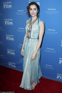 Ornate: On Thursday Lily Collins looked like a princess when she donned an intricate sky blue dress for an event at the Santa Barbara International Film Festival