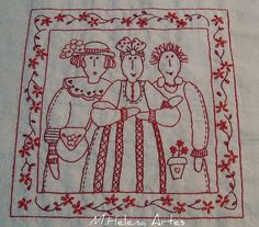 Bordado Redwork OMG! Someone made a pattern with me in it!!!!