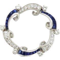Stunning Estate Art Deco 1940's Platinum 2.40 ctw G / VS Diamond and Sapphire Pendant