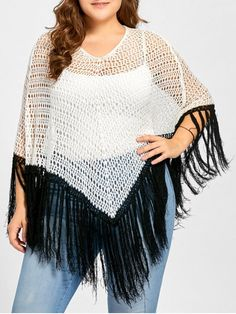 Plus Size Open Knit Tassel Poncho Sweater - WHITE ONE SIZE
