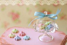 Miniature Dollhouse Food - Elegant Pastel Meringues in 1/12 Scale-miniature dollhouse food, dollhouse food, dollhouse miniatures, miniatures, pei li miniatures