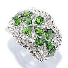 148-497- NYC II® Gemstone & White Zircon Floral Scalloped Wide Band Ring