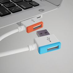 """Infinite USB by Gonglue Jiang. Colorful design helps users organize devices more easily. For too many USB connections on single USB port buy Gonglue's """"External Power Adapter"""""""