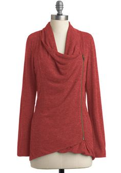 Airport Greeting Cardigan in Paprika - Orange, Solid, Casual, Long Sleeve, Pockets, Minimal, Fall, Jersey, Knit, Mid-length