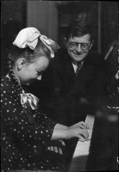 Dmitri Shostakovich with daughter Galina, 1945, uncredited