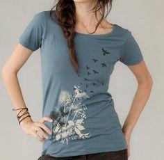 Women's t-shirt, Dandelions, Birds in Flight Women's Organic Short Sleeve t-shirt,  Dusty Blue. $24.00, via Etsy.