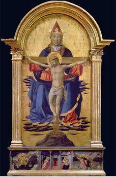 """Domenico di Francesco detto """"Domenico di Michelino"""" - Santissima Trinità; Storie di Arcangeli nella predella - tempera su tavola - 1460 - 1470 - Galleria dell'Accademia - Firenze."""