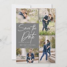 Modern Photo Collage Grey Save The Date Grey Save The Dates, Save The Date Photos, Wedding Save The Dates, Save The Date Cards, Engagement Party Invitations, Save The Date Invitations, Beautiful Wedding Invitations, Invitation Ideas, Elegant Wedding