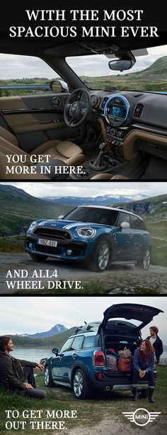 With the MINI Countryman Sports Activity Vehicle, you get More cargo space. More handling with ALL4 all-wheel drive. More Power with the TwinPower Turbo engine.  The MINI Countryman. Get more of what matters. miniusa.com/countryman