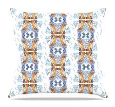 Fox in Snow by DLKG Design Throw Pillow