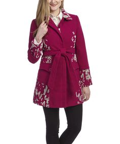 Loving this Neslay Paris Pink & Ivory Abstract Trench Coat on #zulily! #zulilyfinds