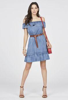Chambray Off Shoulder Dress in Malibu - Get great deals at JustFab