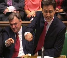 Shadow Chancellor Ed Balls, left, and Labour party leader Ed Miliband: Mr Cameron's outburst prompted cries of 'Flashman' from the Labour benches - a reference to the bully in Tom Brown¿s Schooldays - and a rebuke from the Speaker