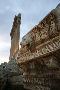 Details in Temple of Jupiter, Baalbek, Lebanon. Known as Heliopolis during the period of Roman rule, it was one of the largest sanctuaries in the empire and contains some of the best preserved Roman ruins in Lebanon.