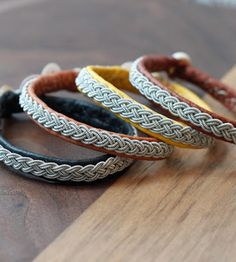 classical leather sami wristbands with silver thread decoration