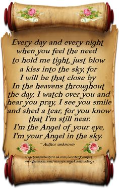 I AM STILL NEAR.I AM THE ANGEL OF YOUR EYE,I'M YOUR ANGEL IN THE SKY!