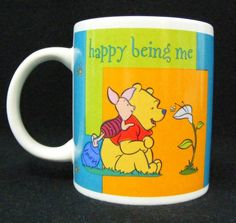 "Disney Winnie the Pooh and Piglet ""Happy Being Me"" Coffee Mug Coco Tea Cup #HustonHarvestGifts"