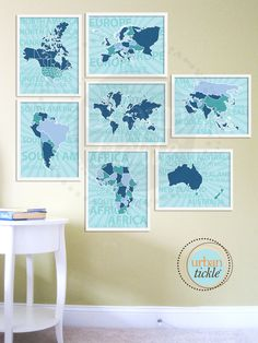 set of 7 continents art prints: love that it's all blues and greens
