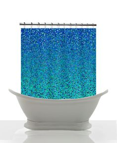 Artistic Shower Curtain - Cool Blue Color Theory- Abstract Impressionist Shower curtain, Blue teal, abstract ,impressionist , art, decor