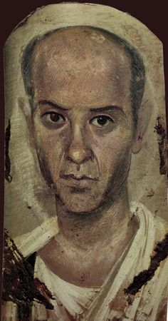 "The Fayum Portraits: Greek and Roman painting style, encaustic (εγκαυστική) (from enkaio ""to burn-in"" ) on wood, part of the Egyptian culture (funeral portraits)."