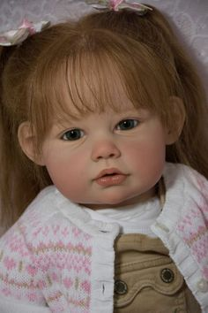 Reborn Toddler Doll ELLA MAE by Jannie De Lange Baby Girl Human Hair ~Glass Eyes