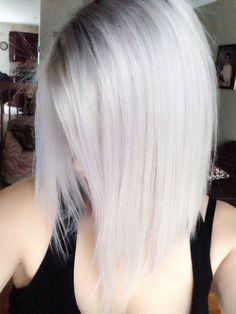Grey hair. Silver hair. White hair. New hair cut